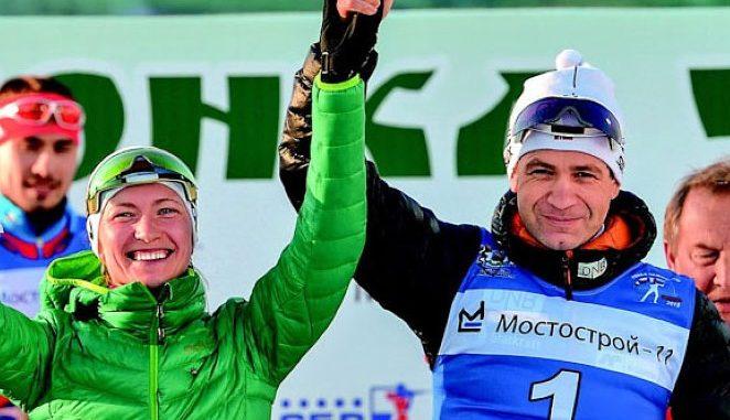 Ole Einar Bjoerndalen and Daria Domracheva
