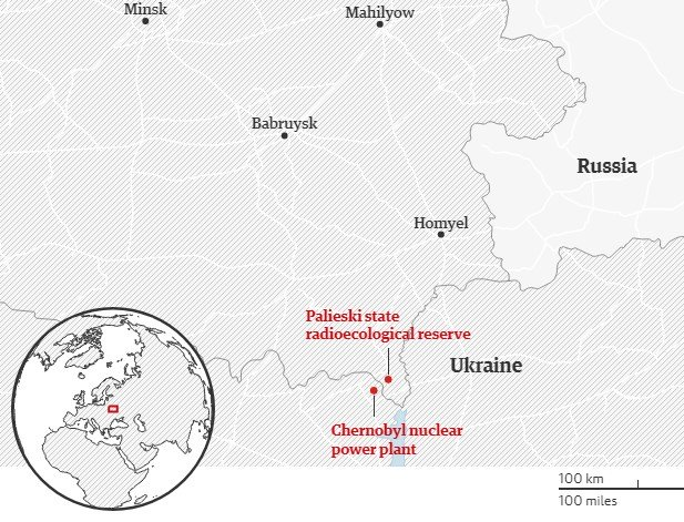 Belarus Chernobyl Exclusion Zone - Map